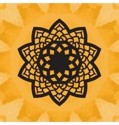 Elegant yantra-like pattern on yellow seamless vector