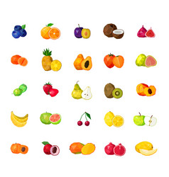 Fresh fruits big polygonal icons set vector