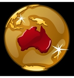 Golden globe with marked of australia countries vector