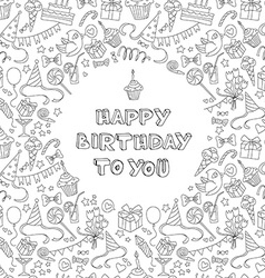 Happy birthday greeting card with hand drawm vector image