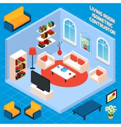 Isometric Living Room Interior vector image