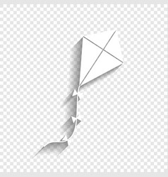 kite sign white icon with soft shadow on vector image vector image