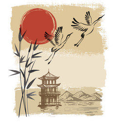 Landscape with sun and storks vector