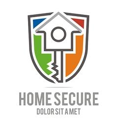 Logo home key house lock security buiding icon vector