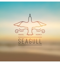 Logo of seagull and waves vector