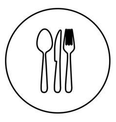 monochrome contour circular frame with cutlery vector image