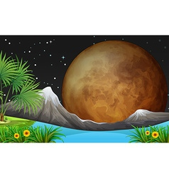 Nature scene with fullmoon at night vector