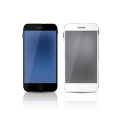 New realistic mobile phone with gray and blue vector