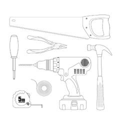 Renovation instruments set Contour vector image
