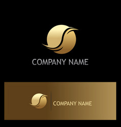 round abstract gold company logo vector image vector image