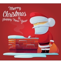 Santa claus near chimney on roof at 2017 new year vector