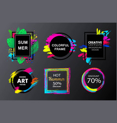 set of painted brush frames quote backgrounds vector image vector image
