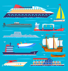 Ship cruiser boat sea transport symbol vessel vector