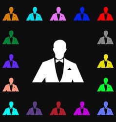 Silhouette of man in business suit icon sign Lots vector image