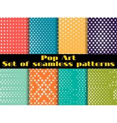 Stars pop art seamless pattern background set vector