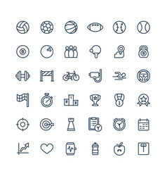 thin line icons set with sport and fitness vector image vector image