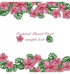 Tropical pink flowers pattern vector