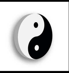 yin yang symbol icon in black and white 3d vector image