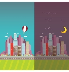 day and night city skyline vector image