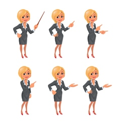 Cartoon blond business woman presentation set vector