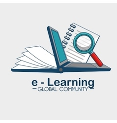 E-learning global community vector