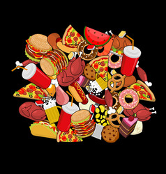 Fast food doodle many feed pile sign of meat vector