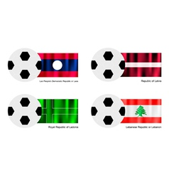 Soccer ball of laos latvia ladonia and lebanon vector