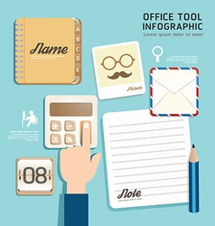 Infographic flat design icons office tool concept vector image