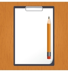 Tablet and pencil on the table vector
