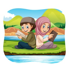 Muslim boy and girl reading in the park vector