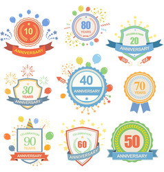 Anniversary celebration emblems set with ribbons vector