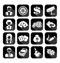 The set of flat casino icons vector