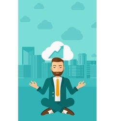 Peaceful businessman meditating vector