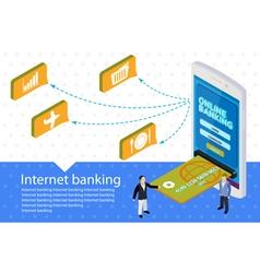 Flat 3d internet banking banner vector