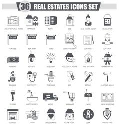 Real estates black icon set Dark grey vector image