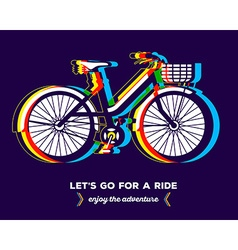 Colorful bicycle with basket and text let vector