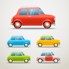 Different color retro cars set Vintage vehicle Ol vector image