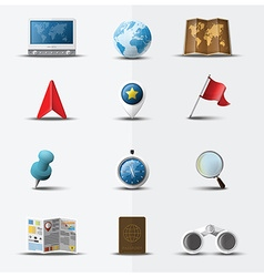 Travel and journey navigator icon set design vector