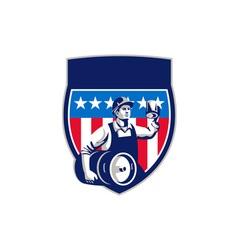 American Construction Worker Beer Keg Crest Retro vector image vector image