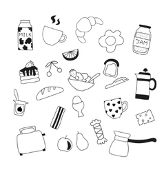 Assortment of doodle food for breakfast vector