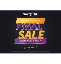 Banner Final Sale on black vector image vector image