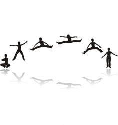 Boy jumping silhouettes vector