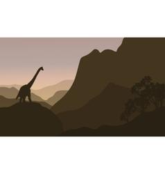 brachiosaurus in hills silhouette scenery vector image vector image