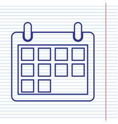 Calendar sign navy line icon vector