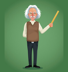 character scientist physical holding ruler green vector image