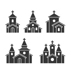 church building icons set on white background vector image
