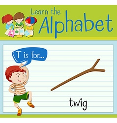Flashcard letter T is for twig vector image vector image