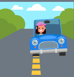 flat design car driving characters car sharing vector image