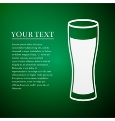 Glass of beer flat icon on green background vector