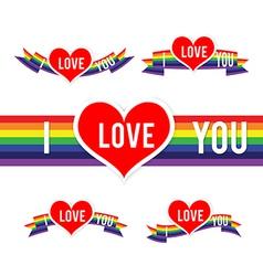 Happy Valentine Heart and Rainbow Ribbon 001 vector image vector image